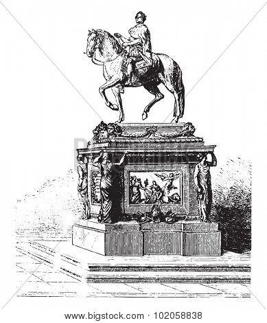 Statue of Louis XV, Bouchardon, erected on the Place de la Concorde, vintage engraved illustration. Industrial encyclopedia E.-O. Lami - 1875.