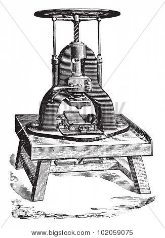 Stamping machine soap bars, vintage engraved illustration. Industrial encyclopedia E.-O. Lami - 1875.