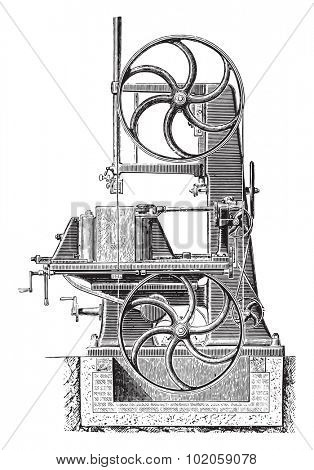 Bandsaw, vintage engraved illustration. Industrial encyclopedia E.-O. Lami - 1875.