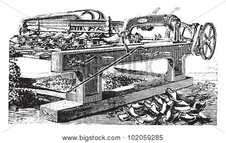 Shaping machine hooves, vintage engraved illustration. Industrial encyclopedia E.-O. Lami - 1875.