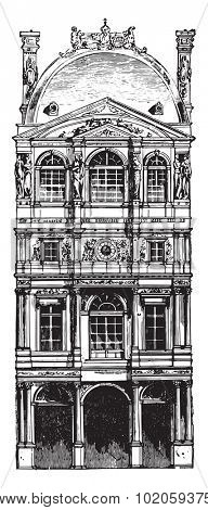 Pavillon Louvre by Pierre Lescot, vintage engraved illustration. Industrial encyclopedia E.-O. Lami - 1875.