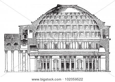Cup Pantheon of Agrippa, vintage engraved illustration. Industrial encyclopedia E.-O. Lami - 1875.