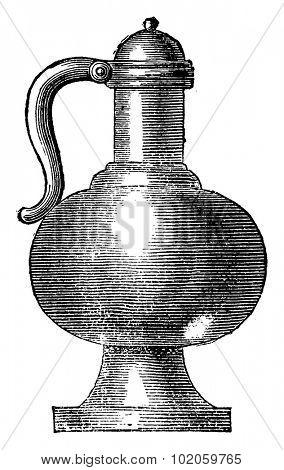 Kettle fifteenth century, vintage engraved illustration. Industrial encyclopedia E.-O. Lami - 1875.