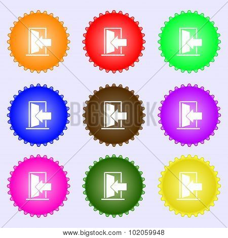 Door, Enter Or Exit Icon Sign. A Set Of Nine Different Colored Labels. Vector