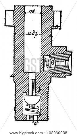 Main pump hydraulic punch, vintage engraved illustration. Industrial encyclopedia E.-O. Lami - 1875.