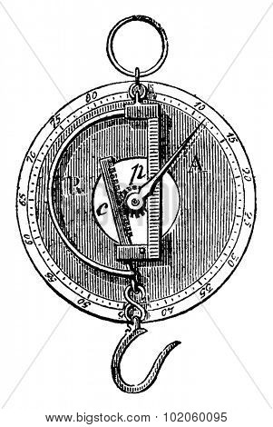 Peson and Roman dial, vintage engraved illustration. Industrial encyclopedia E.-O. Lami - 1875.