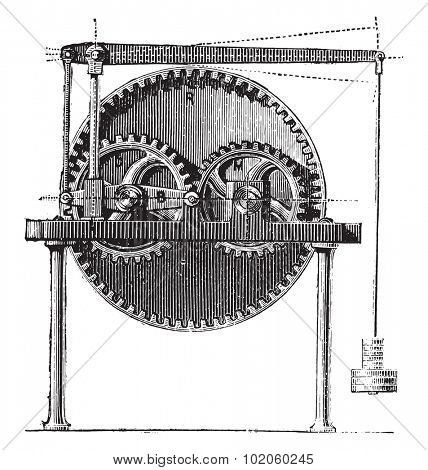 Raffard dynamometer, vintage engraved illustration. Industrial encyclopedia E.-O. Lami - 1875.