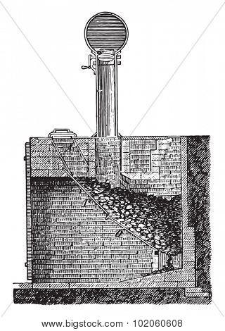 Siemens oven, vintage engraved illustration. Industrial encyclopedia E.-O. Lami - 1875.