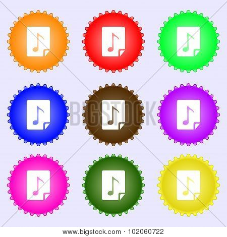 Audio, Mp3 File Icon Sign. A Set Of Nine Different Colored Labels. Vector