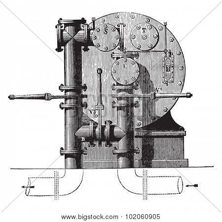 Meter factory seen from behind with three valves available for forming the bypass, vintage engraved illustration. Industrial encyclopedia E.-O. Lami - 1875.
