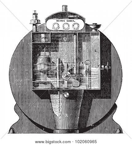 Front view of the normal timer, the anterior wall of the boot, vintage engraved illustration. Industrial encyclopedia E.-O. Lami - 1875.