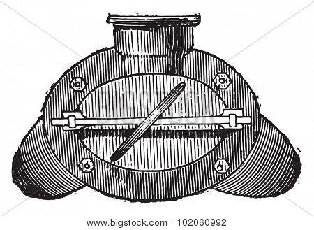 Gas retort, end view, vintage engraved illustration. Industrial encyclopedia E.-O. Lami - 1875.