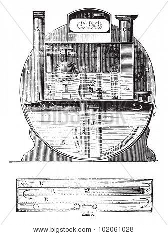 Meter constant water level, vintage engraved illustration. Industrial encyclopedia E.-O. Lami - 1875.