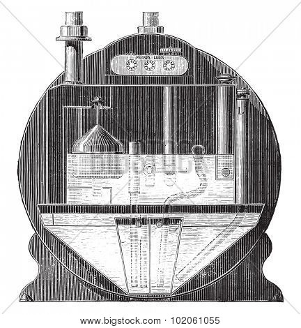 Meter saturation tarpaulin, vintage engraved illustration. Industrial encyclopedia E.-O. Lami - 1875.