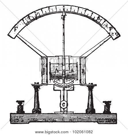 Electricity meter, vintage engraved illustration. Industrial encyclopedia E.-O. Lami - 1875.