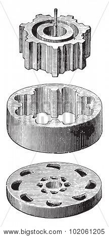 Crown-Meter details, crown and pinion dispensing valve disk format, vintage engraved illustration. Industrial encyclopedia E.-O. Lami - 1875.