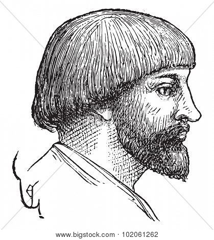 Man hairstyle, late tenth century, vintage engraved illustration. Industrial encyclopedia E.-O. Lami - 1875.