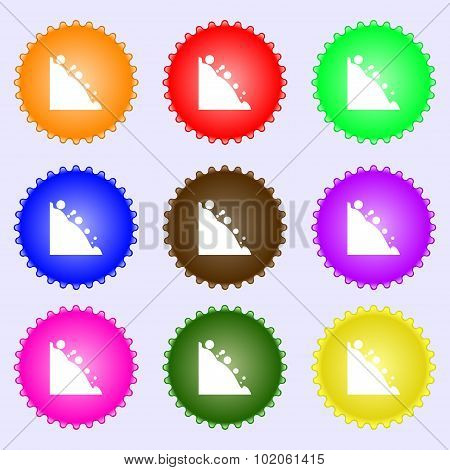 Rockfall Icon. A Set Of Nine Different Colored Labels. Vector