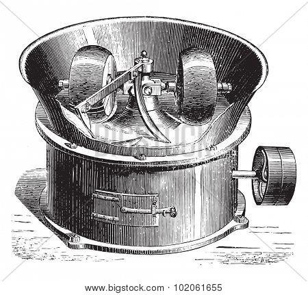 Loose gravel mixer, vintage engraved illustration. Industrial encyclopedia E.-O. Lami - 1875.