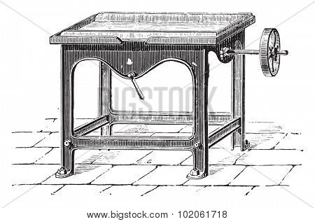 Straightening machine and pat chocolate bars, vintage engraved illustration. Industrial encyclopedia E.-O. Lami - 1875.