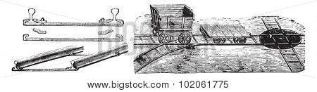 Installation view of the way, Rails and sleepers, Paupier system, Vagonnet and hub, vintage engraved illustration. Industrial encyclopedia E.-O. Lami - 1875.