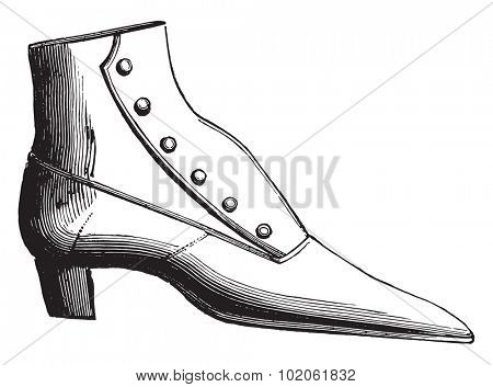 Button boot, vintage engraved illustration. Industrial encyclopedia E.-O. Lami - 1875.