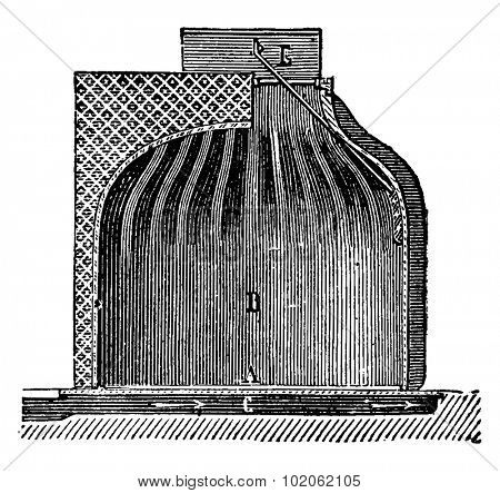 Fireplace chimney shell for ordinary, vintage engraved illustration. Industrial encyclopedia E.-O. Lami - 1875.