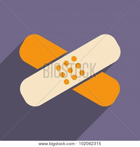 Flat with shadow icon and mobile application medical plaster