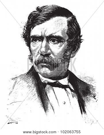 David Livingstone, vintage engraved illustration. From 15 year's old captain book from Jules Verne - 1880
