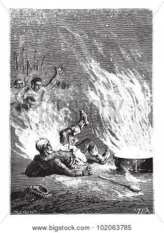 The king had caught fire like an oil tank, vintage engraved illustration. From 15 year's old captain book from Jules Verne - 1880