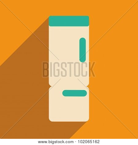 Flat with shadow icon and mobile applacation refrigerator