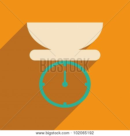 Flat with shadow icon and mobile applacation kitchen scales