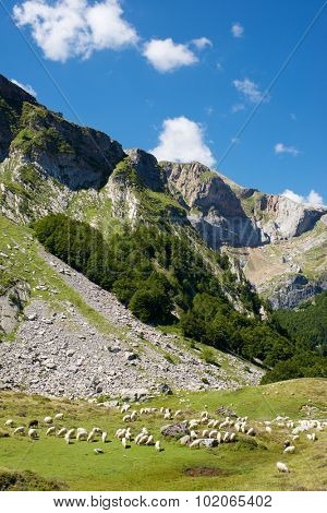 Candanchu Mountains in Pyrenees, Canfranc Valley, Aragon, Huesca, Spain.