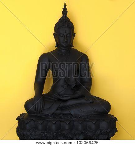 Buddha, Located On A Yellow Background