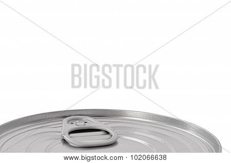 Tin Can Lid, Food Preserve Ringpull Canister Sealed Top, Large Detailed Isolated Macro Closeup