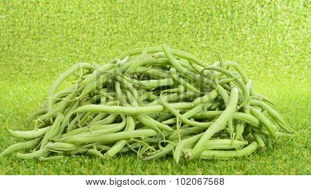 Pile Of Green Beans On Grass