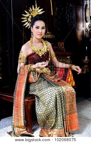 Young Girl In Thai Style Dress
