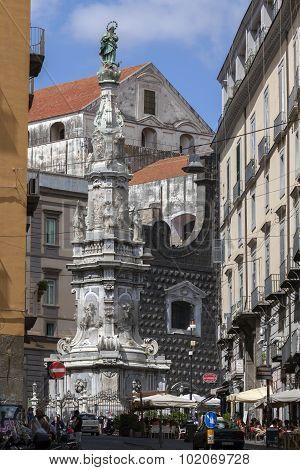 Guglia Dell'immacolata In Naples. Italy