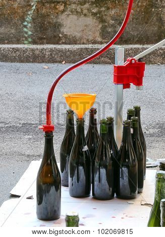 Bottling And Decanting Of Wine From The Carboy Bottles