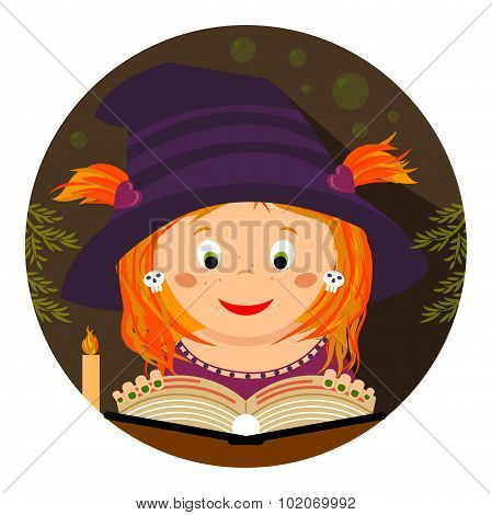 Halloween Illustration. Cute Little Whitch girl Reading A Spellbook