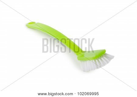 Green Dish Washing Brush On White