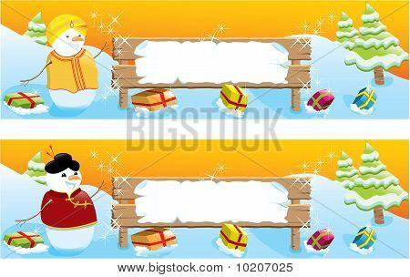 Set of two Christmas banners