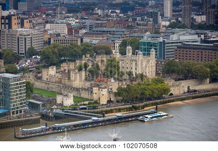 LONDON, UK - SEPTEMBER 17, 2015: Tower of London and River Thames