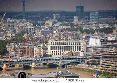 LONDON, UK - SEPTEMBER 17, 2015: City of London panorama with modern  buildings