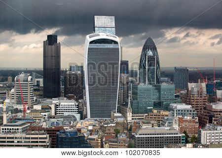 LONDON, UK - SEPTEMBER 17, 2015: City of London panorama with modern skyscrapers. Gherkin, Walkie-Ta