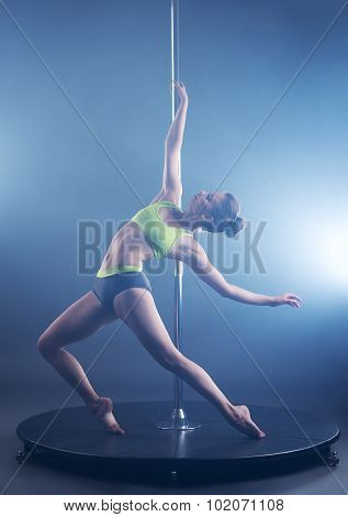 Pole dance. Sexy girl froze in graceful pose