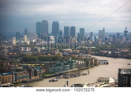 LONDON, UK - SEPTEMBER 17, 2015: London panorama with River Thames, bridges and Canary Wharf banking