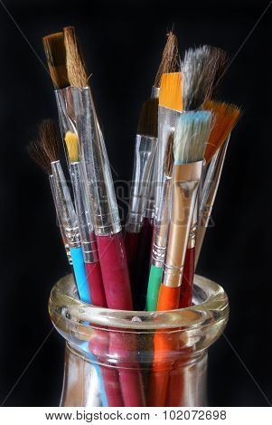 Paintbrush Set In Glass Jar