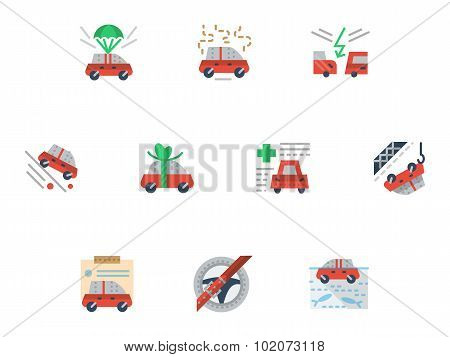 Flat simple vector icons for car insurance service
