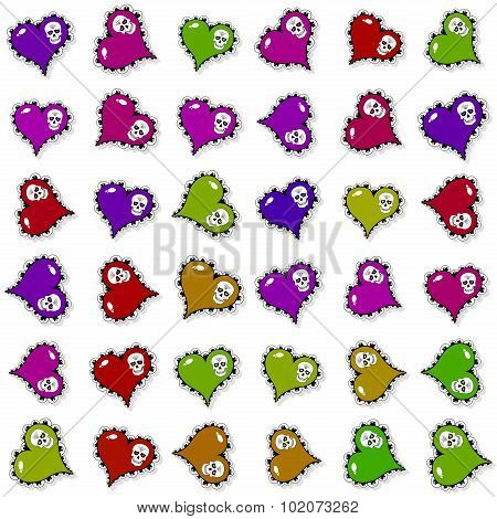Seamless Pattern With Ornate Colored Hearts And Skulls